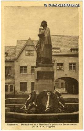 ansichtkaart: Roermond, Monument Neerland's grootsten bouwmeester Dr. P.J.H. Cuypers